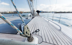 Close up of sailboat deck or yacht sailing on sea Royalty Free Stock Image