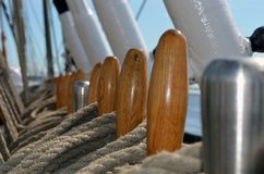 Close-up of sailing vessel equipment stock photo