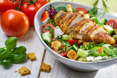Close-up on a salad with chicken and tomato stock image