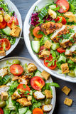 Close-up on salad with croutons Stock Images