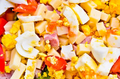 Close-up salad with eggs, meat,corn, tomatoe, Normandy, Franc Royalty Free Stock Photography