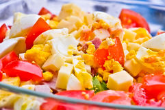 Close-up salad with eggs, meat,corn, tomatoe, Normandy, Franc Stock Images