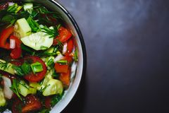 Close up salad of fresh tomatoes and cucumbers. Healthy food, vegetables. royalty free stock photos