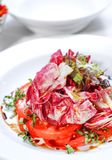 Salad with the red cabbage on plate Royalty Free Stock Photos
