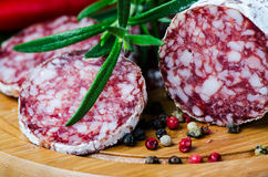 Close up salami Stock Photos