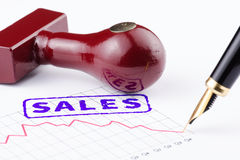 Close-up of sales stamped on a graph Royalty Free Stock Photo