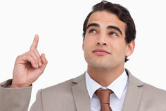 Close up of salesman looking and pointing up Stock Images