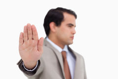 Close up of salesman's palm Royalty Free Stock Photo