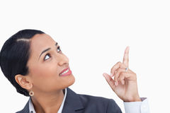 Close up of saleswoman looking and pointing up Stock Images