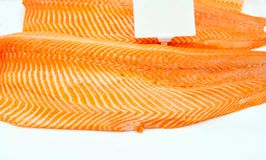 Close up Salmon fillet on ice with white label tag at fish market. Image of salmon texture detail in market background. Raw royalty free stock photos