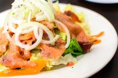 Close up of salmon salad Stock Photography