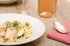 Close up salmon, shrimps and courgettes Stock Photography