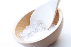 Close up of salt grains on spoon Royalty Free Stock Photo