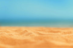 Close up sand with blurred sea sky / Paradise Tropical beach background / summer day royalty free stock images