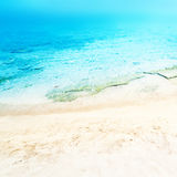 Close up sand with blurred sea sky / Paradise Tropical beach background / summer day stock photos