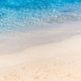 Close up sand with blurred sea sky / Paradise Tropical beach bac Stock Images