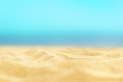 Close up sand with blurred sea sky / Paradise Tropical beach background / summer day. Tropical beach / Sunny day sea paradise stock images