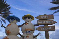 Close-up of Sand Snowmen Fort Lauderdale Florida Royalty Free Stock Photos