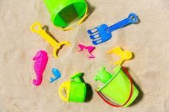 Close up of sand toys kit on summer beach royalty free stock images