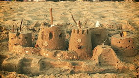 Close Up of Sandcastle at Beach stock footage