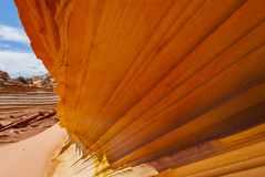 Close up of sandstone fin formation. Sandstone swirl Coyote Buttes Paria Canyon-Vermillion Cliffs Wilderness Area, Arizona, USA Royalty Free Stock Photo