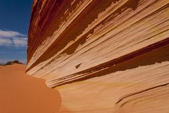 Close up of sandstone fin formation. Sandstone swirl Coyote Buttes Paria Canyon-Vermillion Cliffs Wilderness Area, Arizona, USA Stock Photos