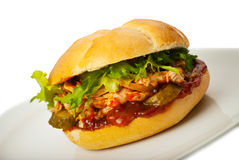 Close up of sandwich with chicken Royalty Free Stock Photo