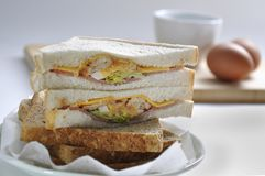 Sandwiches with ham, lettuce and egg stock photos