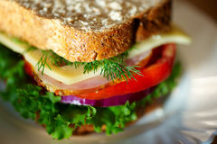 Close up of sandwich. Shalow DOF. Selective focus Royalty Free Stock Image