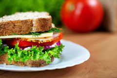 Close up of sandwich. Shalow DOF. Selective focus Stock Images