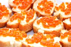 Close up of sandwiches with red caviar Royalty Free Stock Photos