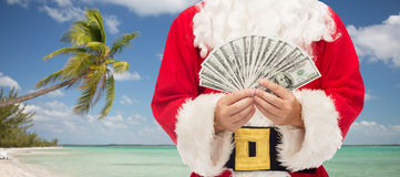 Close up of santa claus with dollar money Stock Images