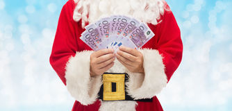 Close up of santa claus with euro money Royalty Free Stock Image