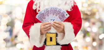 Close up of santa claus with euro money Royalty Free Stock Photos