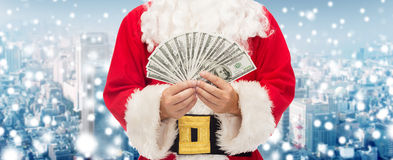 Close up of santa claus with euro money Stock Photo