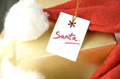 Close up santa gift tag Royalty Free Stock Photo