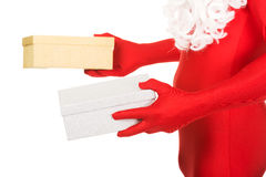 Close up on santa hands holding gifts Stock Photography