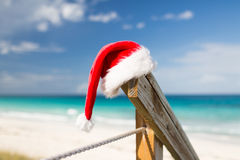 Close up of santa helper hat on beach Stock Photos