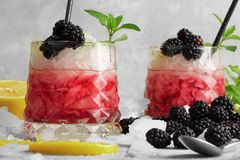 Closeup of two glasses of fruit cocktails, blackberries, lemon, green leaves of mint on a light blurred background. Close-up of sappy blackberries, slices of Royalty Free Stock Images