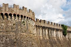 Close up of Sarzanello Medieval Fortress in Italy Stock Photos