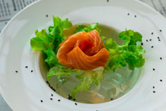 Close up sashimi salmon with vegetables Royalty Free Stock Photo