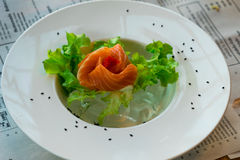 Close up sashimi salmon with vegetables Royalty Free Stock Images