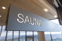 Close-up of sauna sign Stock Image