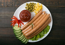 Close up of sausage and fresh vegetables Royalty Free Stock Image