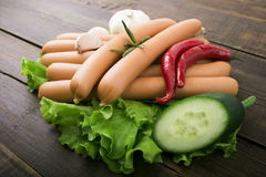 Close up of sausage and fresh vegetables Stock Photography