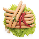 Close up of sausage and fresh vegetables Stock Images