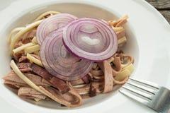 Close up sausage salad Royalty Free Stock Photography