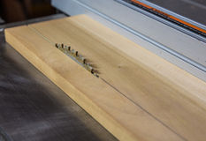 Close up of saw blade cutting wood on table saw Stock Image