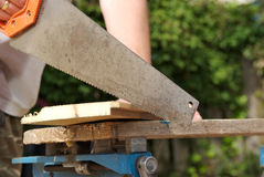 Close-up of a saw ready to cut Stock Images