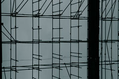 Close up of scaffolding on a construction site with blue backgro Royalty Free Stock Image